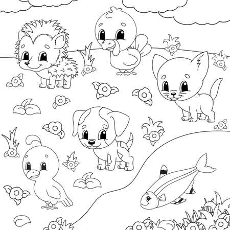 Coloring book for kids with Animal clipart. Cheerful characters. Vector illustration. Cute cartoon style. Black contour silhouette. Isolated on white background.