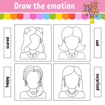 Draw the emotion. Worksheet complete the face. Coloring book for kids. Cheerful character Vector illustration. Black contour silhouette. Isolated on white background.