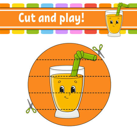 Cut and play. Educational activity worksheet for kids and toddlers. Game for children with Happy characters. Simple flat color isolated vector illustration in cute cartoon style. 矢量图像