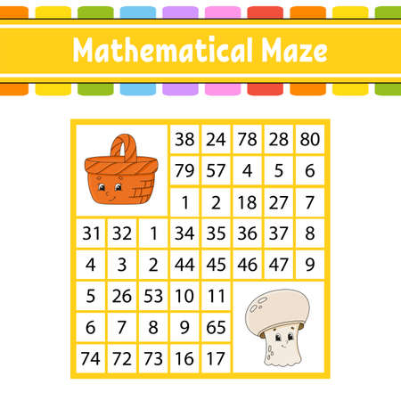Mathematical maze Game for kids. Number labyrinth. Education developing worksheet. Activity page. Puzzle for children with Cartoon characters. Riddle for preschool. Color vector illustration
