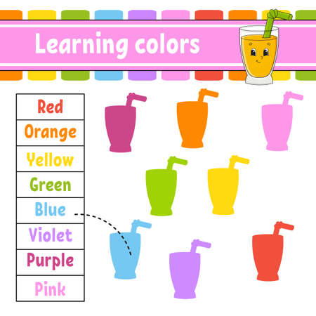 Learning colors. Logic puzzle for kids. Education developing worksheet. Learning game. Activity page Simple flat isolated vector illustration in cute cartoon style. 矢量图像