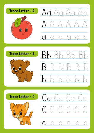 Writing letters. Tracing page. Practice sheet. Worksheet for kids. Exercise for preschools. Learn alphabet. Cute characters Vector illustration. Cartoon style.