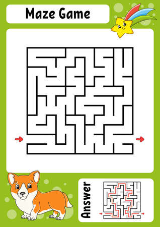 Square maze. Game for kids. Funny labyrinth. Education developing worksheet. Activity page. Puzzle for children with Cartoon style. Riddle for preschool. Logical conundrum Color vector illustration.