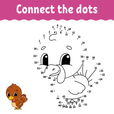 Dot to dot game. Draw a line. For kids. Activity worksheet. Coloring book Cartoon character. Vector illustration.