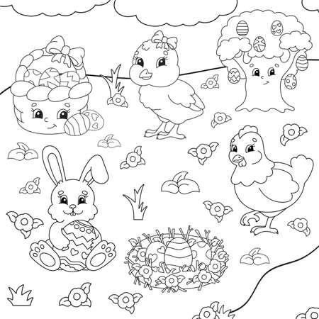 Coloring book for kids. Easter clipart Cheerful characters. Vector illustration. Cute cartoon style. Black contour silhouette Isolated on white background.