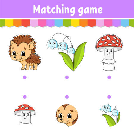 Matching game. Draw a line. Education developing worksheet. Activity page with color pictures. Riddle for children. Isolated vector illustration. Funny character Cartoon style.