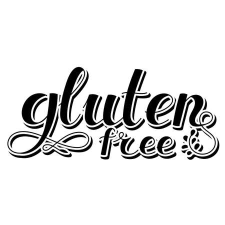 Lettering inscription. Gluten free. Healthy lifestyle theme. Hand drawn phrase. Vector illustration. Design element for t-shirts and prints. 矢量图像