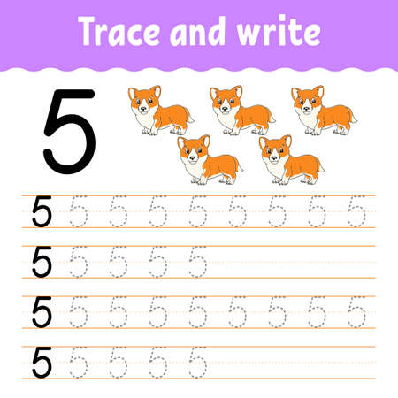 Learn Numbers. Trace and write. Handwriting practice. Learning numbers for kids. Education developing worksheet. Color activity page. Isolated vector illustration in cute cartoon style. 矢量图像