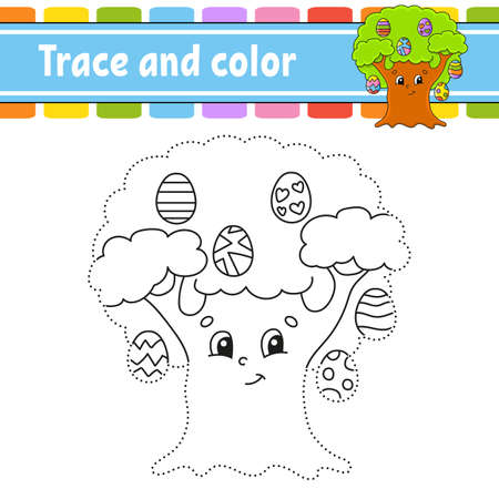 Trace and color. Coloring page for kids. Handwriting practice. Education developing worksheet. Activity page. Game for toddlers. Isolated vector illustration. Cartoon style. Easter theme. 矢量图像
