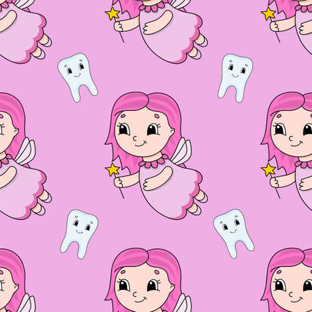 Colored cartoon seamless pattern. Cartoon style. Hand drawn. Vector illustration isolated on white background. Иллюстрация