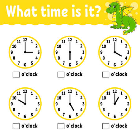 Learning time on the clock. Educational activity worksheet for kids and toddlers. Game for children. Simple flat isolated color vector illustration in cute cartoon style. 矢量图像
