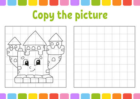 Copy the picture. Coloring book pages for kids. Education developing worksheet. Game for children. Handwriting practice. Funny character Cute cartoon vector illustration. 矢量图像