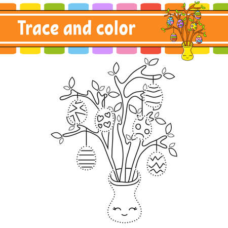 Trace and color. Coloring page for kids. Handwriting practice. Education developing worksheet. Activity page. Game for toddlers. Isolated vector illustration. Cartoon style. Easter theme. Иллюстрация