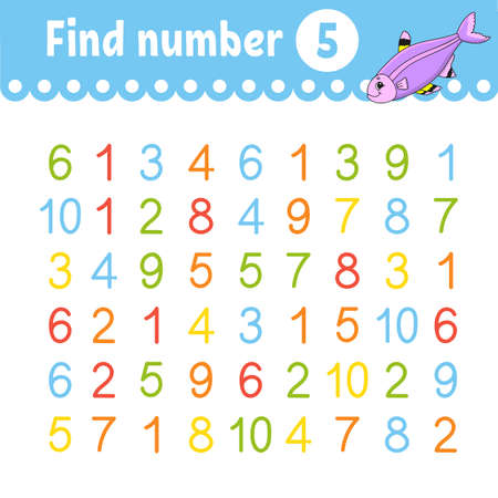 Find number. Education developing worksheet. Activity page with pictures. Game for children. Color isolated vector illustration. Funny character. Cartoon style.