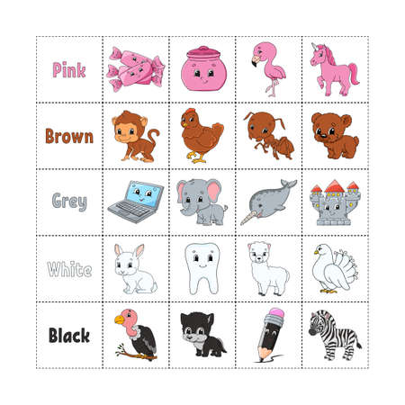 Learning colors for kids. Cut and play. Cute cartoon characters. Picture set for preschoolers. Education worksheet. Vector illustration. Иллюстрация