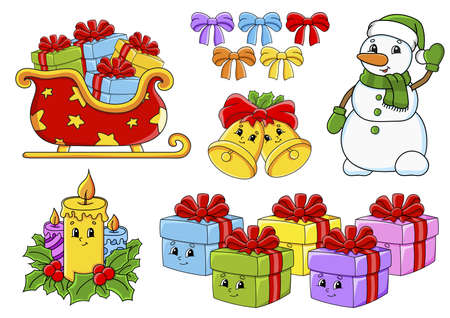 Set of stickers with cute cartoon characters. Christmas theme. Hand drawn. Colorful pack. Vector illustration. Patch badges collection. Label design elements. For daily planner, diary, organizer. Иллюстрация