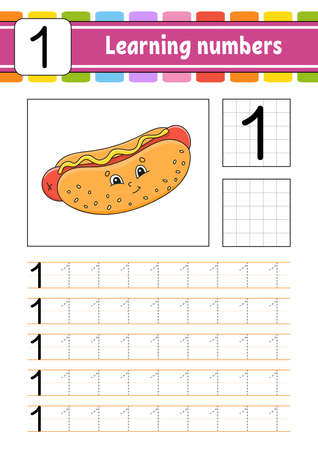 Number 1. Trace and write. Handwriting practice. Learning numbers for kids. Education developing worksheet. Activity page. Isolated vector illustration in cute cartoon style.