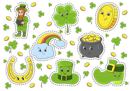 Set of stickers with cute cartoon characters. St. Patrick's Day. Hand drawn. Colorful pack. Vector illustration. Patch badges collection for kids. For daily planner, organizer, diary.