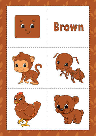 Learning colors. Flashcard for kids. Cute cartoon characters. Picture set for preschoolers. Education worksheet. Vector illustration. Иллюстрация