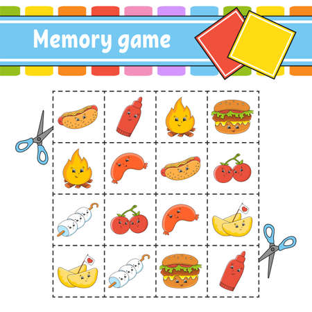 Memory game for kids. Education developing worksheet. Activity page with pictures. Puzzle game for children. Logical thinking training. Isolated vector illustration. Funny character. Cartoon style. Иллюстрация