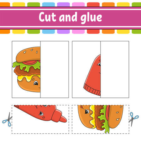 Cut and play. Paper game with glue. Flash cards. Education worksheet. Activity page. Funny character. Isolated vector illustration. Cartoon style. Иллюстрация