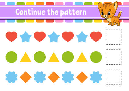 Continue the pattern. Education developing worksheet. Game for kids. Activity page. Puzzle for children. Riddle for preschool. Flat isolated vector illustration. Cute cartoon style. Иллюстрация