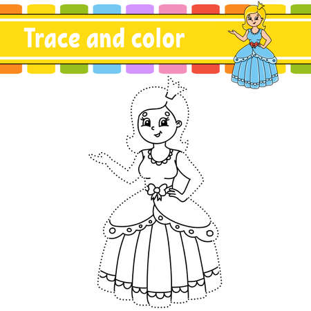 Trace and color. Coloring page for kids. Handwriting practice. Education developing worksheet. Activity page. Game for toddlers. Isolated vector illustration. Cartoon style. Fairytale theme.