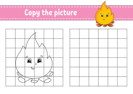 Copy the picture. Coloring book pages for kids. Education developing worksheet. Game for children. Handwriting practice. Cartoon character. Иллюстрация