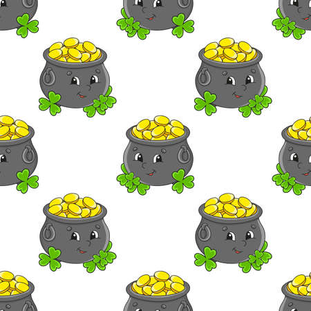 Colored seamless pattern. Cartoon style. Hand drawn. Vector illustration isolated on white background. For walpaper, poster, banner. Иллюстрация