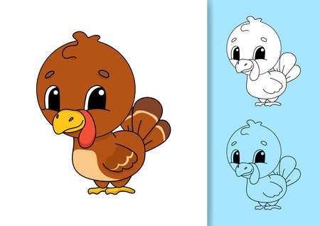 Farm turkey. Set of vector illustrations isolated on white and colored background. Design element. Black stroke. Cartoon style.