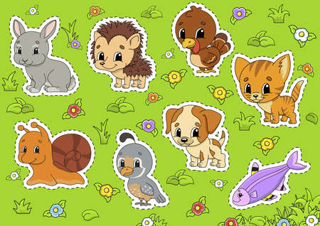 Set animals. Cute cartoon characters. Pet clipart. Hand drawn. Colorful pack. Vector illustration. Patch badges collection. Label design elements. For daily planner, diary, organizer.