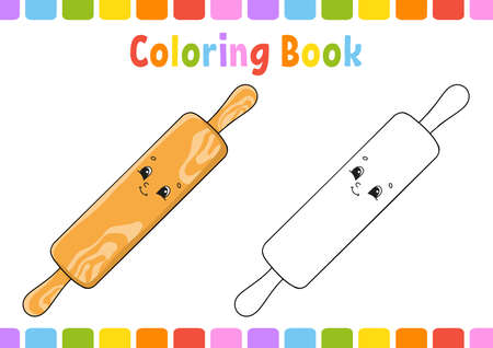 Coloring book for kids. Cartoon character. Vector illustration. Fantasy page for children. Black contour silhouette. Isolated on white background. Иллюстрация