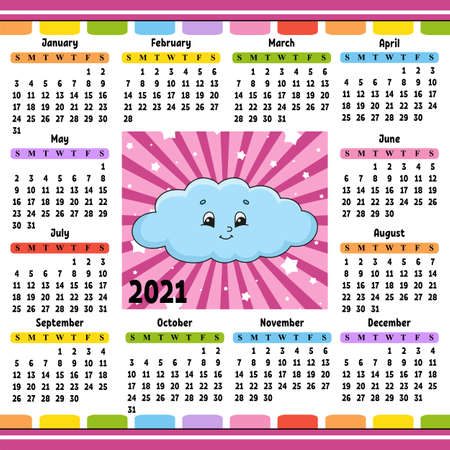 Calendar for 2021 with a cute character. Funny cloud. Fun and bright design. Isolated color vector illustration. Cartoon style.