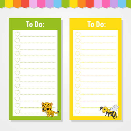 To do list for kids. Empty template. Jaguar and bee. The rectangular shape. Isolated color vector illustration. Funny character. Cartoon style. For the diary, notebook, bookmark. Иллюстрация