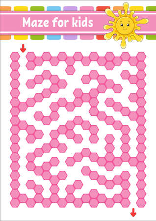 Rectangular color maze. Cute sun. Game for kids. Funny labyrinth. Education developing worksheet. Activity page. Puzzle for children. Cartoon character. Logical conundrum. Vector illustration.
