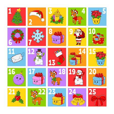 Christmas advent calendar with cute characters. Santa claus, deer, snowman, fir tree, snowflake, gift, bauble, sock. Cartoon style. With numbers 1 to 25. Vector illustration. Holiday preparation.