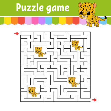 Square maze. Game for kids. Spotted jaguar. Puzzle for children. Labyrinth conundrum. Color vector illustration. Find the right path. Isolated vector illustration. Cartoon character.