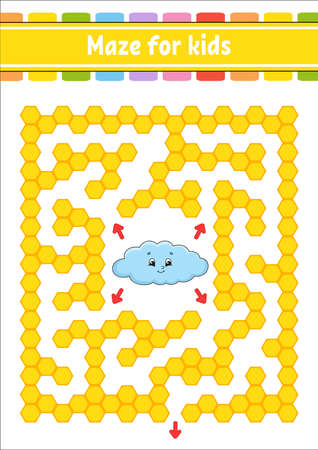 Rectangular color maze. Funny cloud. Game for kids. Funny labyrinth. Education developing worksheet. Activity page. Puzzle for children. Cartoon character. Logical conundrum. Vector illustration.