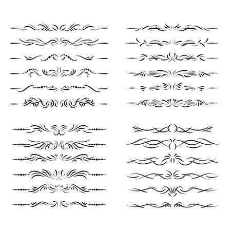 Fashion dividers. Underlines and text separators. Vector collection. Isolated vector set of borders for text, invitations, cards, books, menus. Design element.