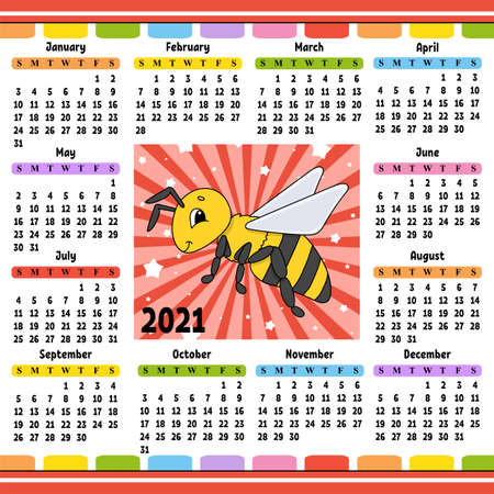 Calendar for 2021 with a cute character. Striped bee Fun and bright design. Isolated color vector illustration. Cartoon style. Ilustração