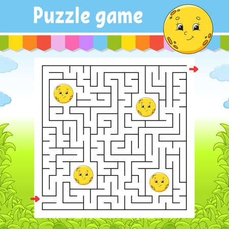 Square maze. Cute moon. Game for kids. Puzzle for children. Labyrinth conundrum. Color vector illustration. Find the right path. Isolated vector illustration. Cartoon character. Ilustração