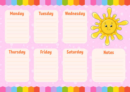 School schedule. Cute sun. Timetable for schoolboys. Empty template. Weekly planer with notes. Isolated color vector illustration. Cartoon character. Ilustração