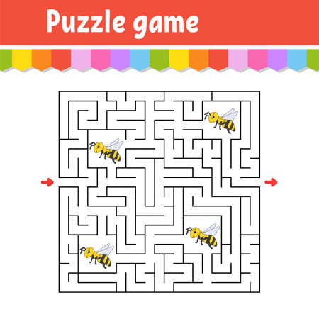 Square maze. Game for kids. Striped bee Puzzle for children. Labyrinth conundrum. Color vector illustration. Find the right path. Isolated vector illustration. Cartoon character.