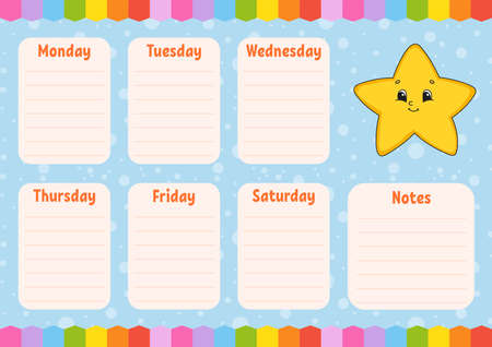 School schedule. Timetable for schoolboys. Cartoon star. Empty template. Weekly planer with notes. Isolated color vector illustration. Cartoon character.