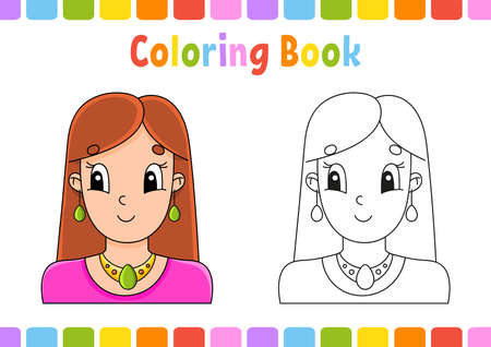 Coloring book for kids. Cartoon character. Vector illustration. Fantasy page for children. Black contour silhouette. Isolated on white background. Ilustração