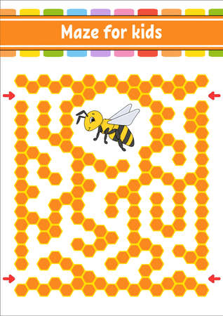 Rectangular color maze. Striped bee. Game for kids. Funny labyrinth. Education developing worksheet. Activity page. Puzzle for children. Cartoon character. Logical conundrum. Vector illustration.
