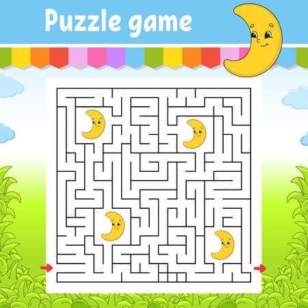 Square maze. Cute crescent. Game for kids. Puzzle for children. Labyrinth conundrum. Color vector illustration. Find the right path. Isolated vector illustration. Cartoon character.