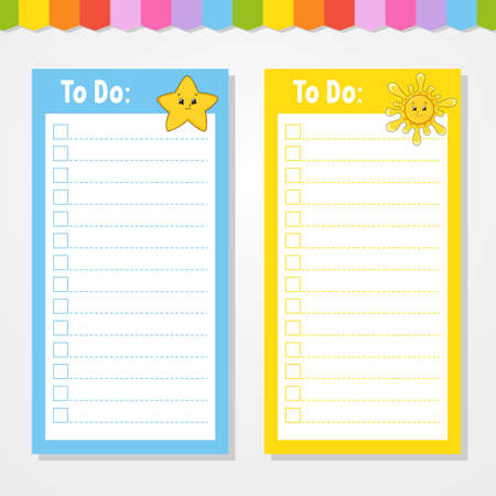 To do list for kids. Empty template. Star and sun. The rectangular shape. Isolated color vector illustration. Funny character. Cartoon style. For the diary, notebook, bookmark. Vecteurs