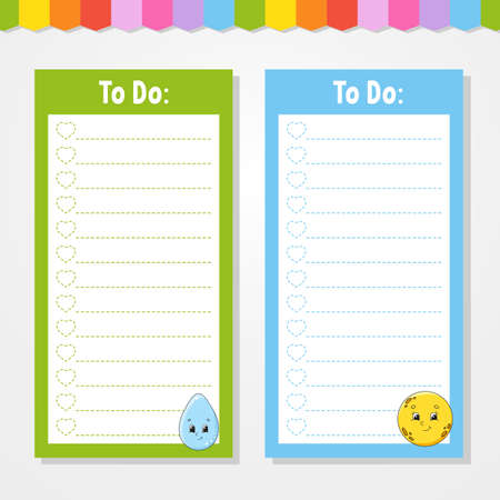 To do list for kids. Empty template. Drop and moon. The rectangular shape. Isolated color vector illustration. Funny character. Cartoon style. For the diary, notebook, bookmark. Ilustração