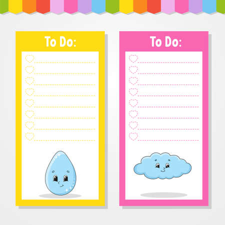 To do list for kids. Empty template. Drop and cloud. The rectangular shape. Isolated color vector illustration. Funny character. Cartoon style. For the diary, notebook, bookmark.
